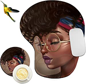 Mouse Pad with Wrist Support Rest,Rossy Afro Girls Design Ergonomic Gaming Mousepad Non-Slip Rubber Base Wrist Cushion for Office Computer Laptop + Coasters and Cute Stickers