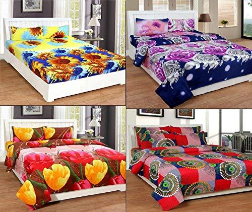 DANWRICH TEXTURE 3D Elegant 152 TC Microfibre Cotton Polyester Blend Double Bedsheet with 2 Pillow Covers, 230x250, Multicolour -Set of 4