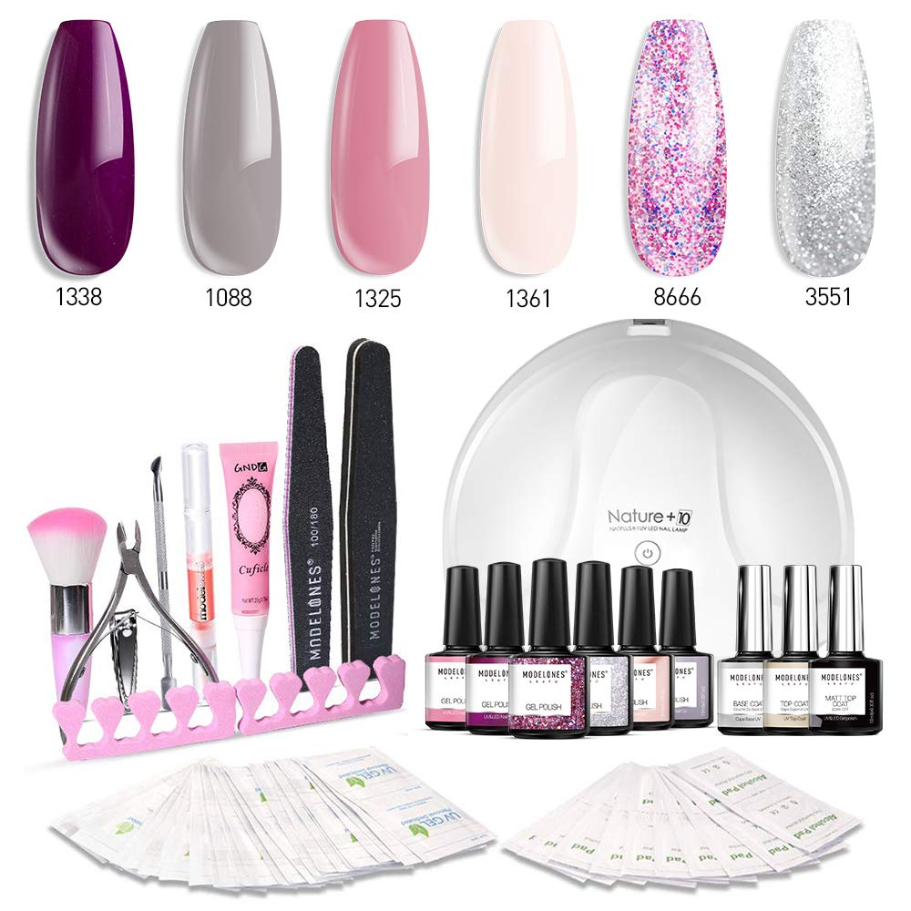 Modelones Gel Nail Polish Kit with UV Light - 4 Elegant Colors and 2 Glitter Gel, Matte Top Coat, Base Top Coat, 24W Nail Lamp, Upgraded Manicure Tools in Storage Bag by modelones