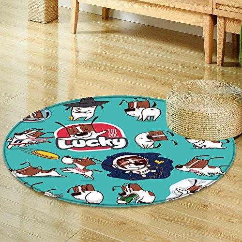 Small round rug Carpetsticker collection of emoji cartoon dog emoticons vector stock illustrations door mat indoors Bathroom Mats Non Slip-Round ()