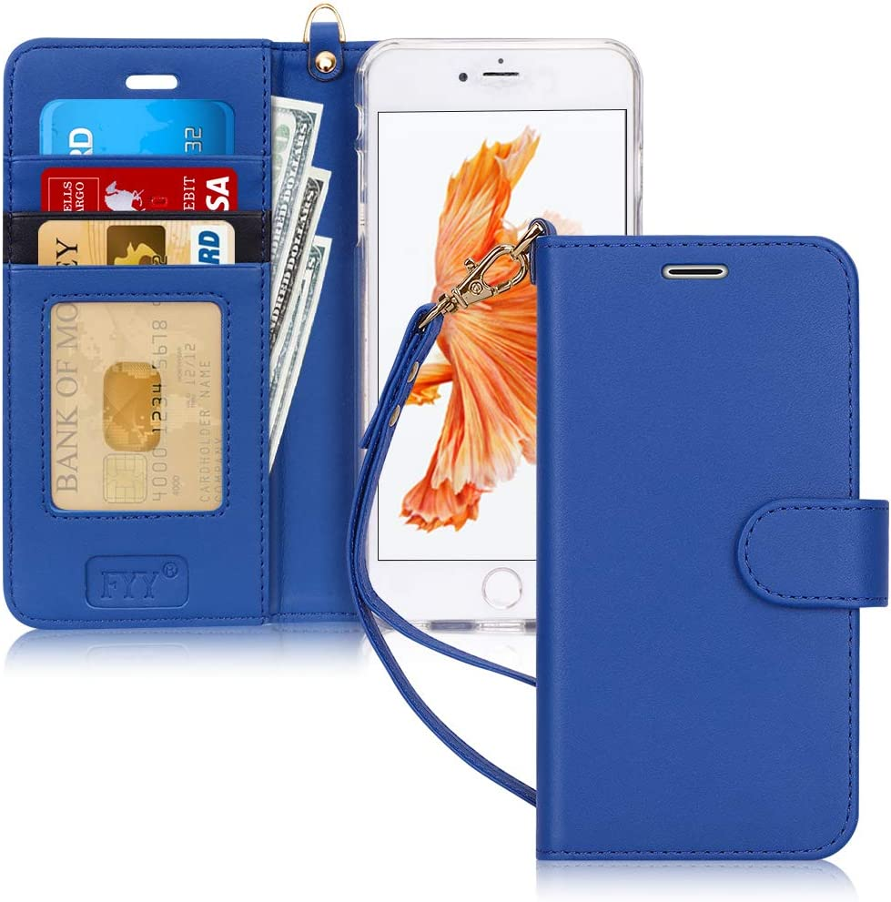 """FYY Case for iPhone 6S Plus/iPhone 6 Plus (5.5""""), [Kickstand Feature] Luxury PU Leather Wallet Case Flip Folio Cover with [Card Slots][Wrist Strap] for iPhone 6S+ Plus/iPhone 6+ Plus (5.5"""") Navy"""