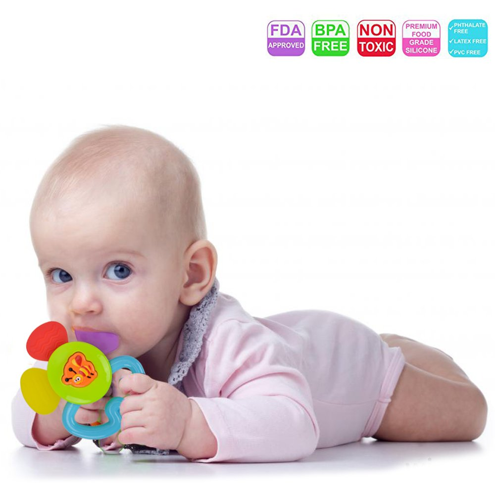 Teether Rattle Set Baby Toy - Happytime SLE84822 (2018 New Design)8pcs Latest Rattle & Teether Toys with Adorable Color in Owl Bottle Gift for Newborn Baby by Happy-Time (Image #3)