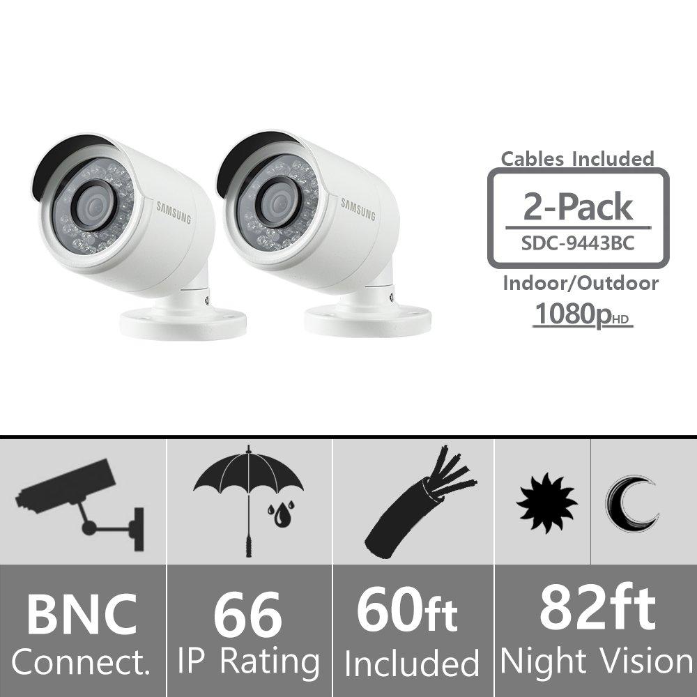 (Set of 2) Samsung SDC-9443BC 1080p HD Weatherproof Bullet Camera (Compatible with SDH-B74041 & SDH-B74081) by Hanwha