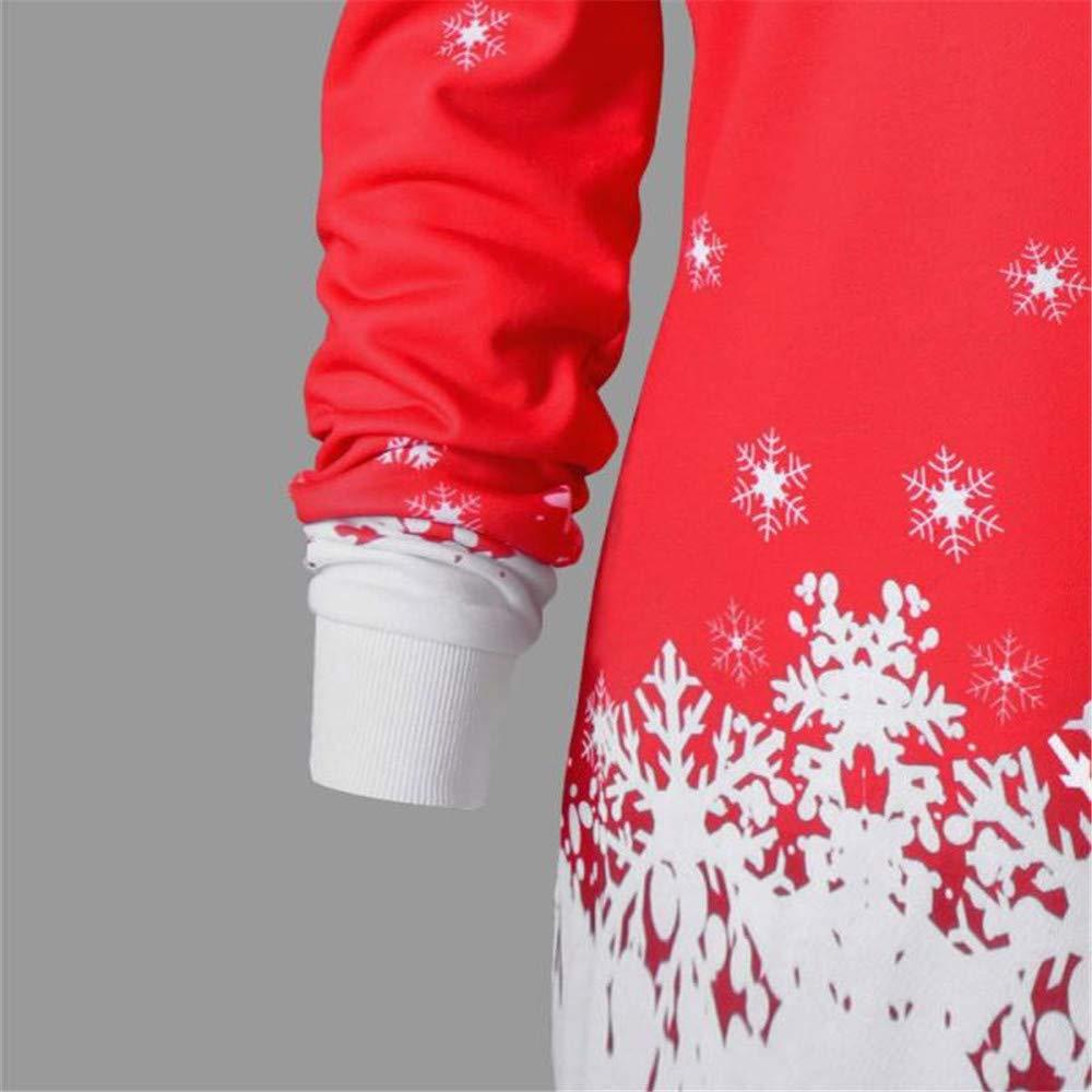 MRULIC Frauen Weihnachts Pullover Santa Snowflake Gedruckt Tops Langarm Bluse Slim Sweatshirt