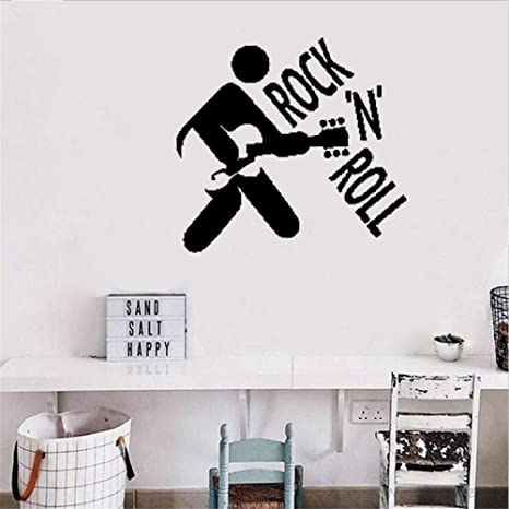 Vinyl Removable Wall Stickers Mural Decal Rock N Roll Rock Music Guitar Home Kitchen