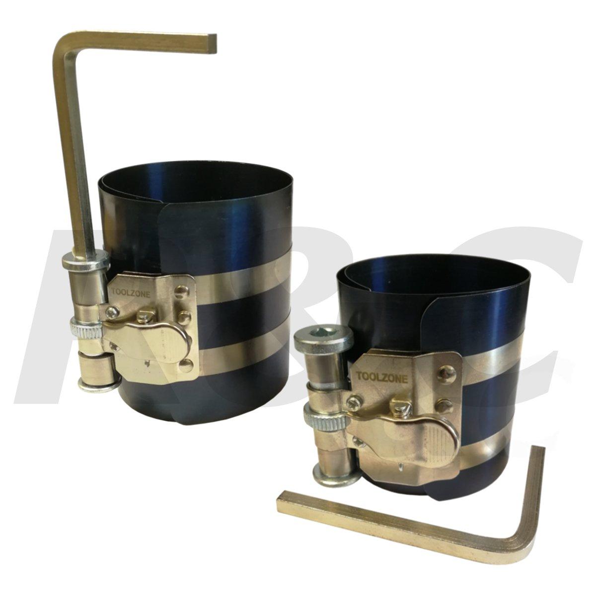 TZ 2Pc Piston Ring Compressor Set Small 50-125mm & Large 75-17mm Ratchet Type