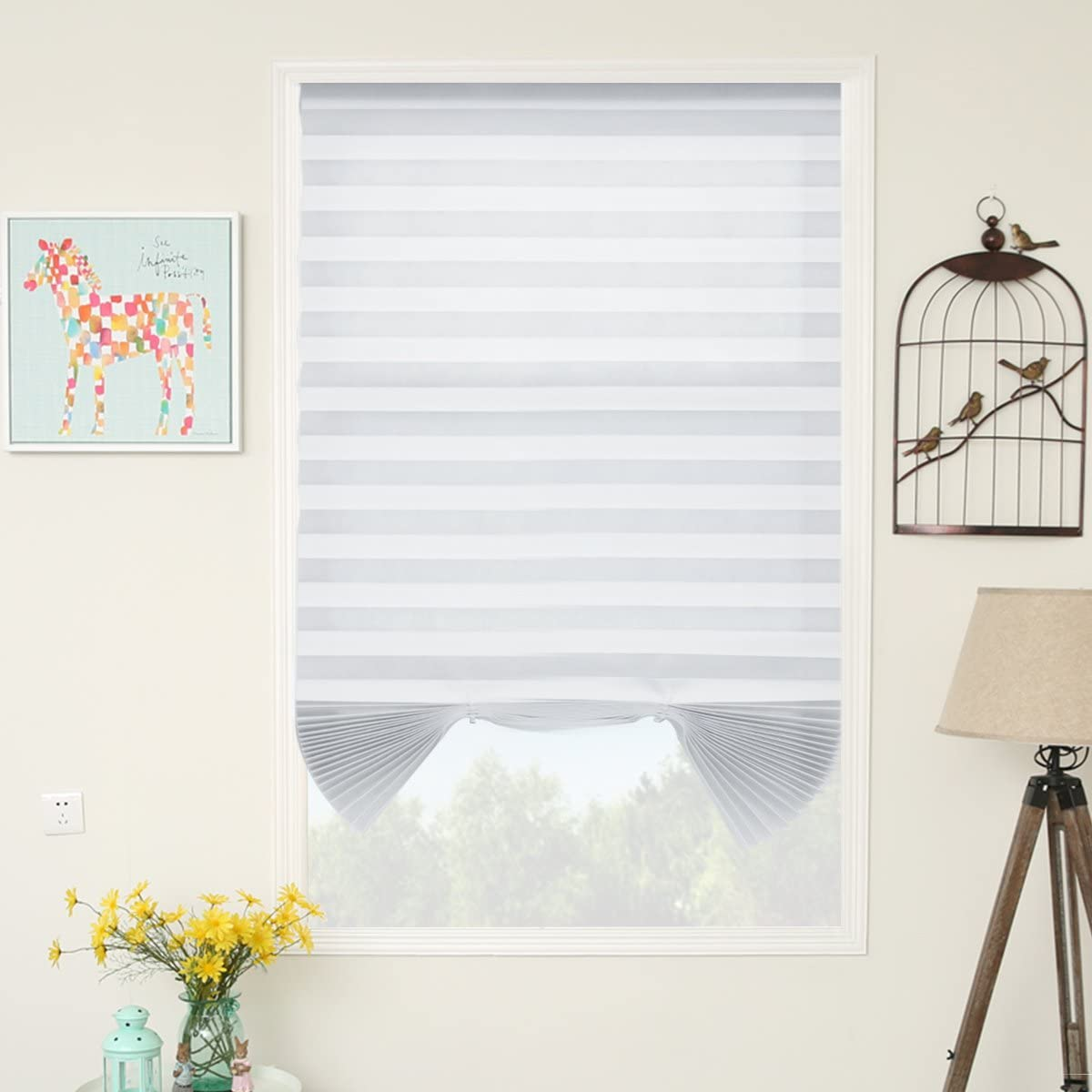 SUNFREE 6 Pack White Temporary Shades Cordless Blinds Fabric Light Filtering Pleated Window Shades Easy to Cut and Install 48