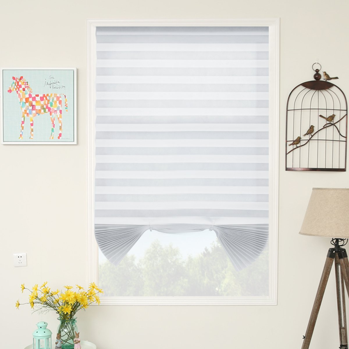 SUNFREE 6 Pack Temporary Blinds Window Shades Cordless Blinds Light Filtering Pleated Fabric Shade Easy to Cut and Install,36''x72''-6 Pack, White by SUNFREE