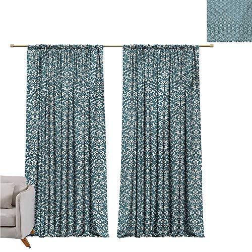 Damask Exquisite Curtain Vibrant Colored Floral Arrangement Eastern Art Style Foliage Antique Design Noise Reducing W72 x L84 Night Blue Cream