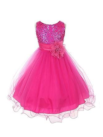 c20cade2ad72 Amazon.com  Kids Dream Sequin Mesh Flower Girl Dress Infant Toddler ...