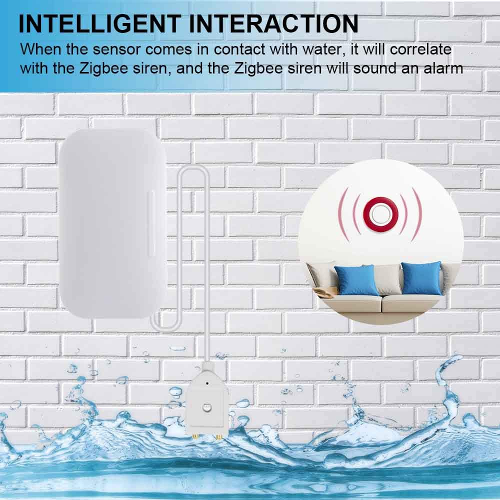 Sensor de fugas de agua Zigbee Detector inal/ámbrico de inundaciones Alerta de detecci/ón de fugas de agua Alarma de desbordamiento del nivel de agua Tuya Smat