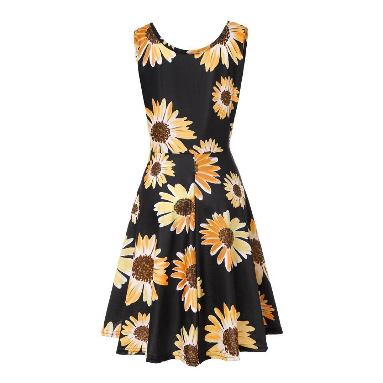Flurries Dress, Women Sleeveless Printing Summer Beach A Line Casual Dress Floral Dress (XL, Black)