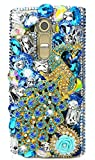 STENES LG X Charge Case - Stylish - 100+ Bling Crystal - 3D Handmade Pretty Peacock Rose Flowers Design Protective Case for LG X Power 2 /LG Fiesta LTE/LG X Charge - Blue