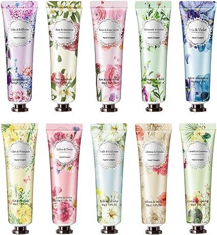 Ownest 10 Pack Flower Fragrance Crema de manos con manteca de karité, Vitamina E, Crema de manos Set de regalo Hidratante para manos y pies secos-30ml: Amazon.es: Belleza