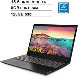 Lenovo Premium 2020 Newest Ideapad S145 15.6 Inch Laptop, Intel Celeron 4205U 1.8GHz, Intel UHD 610, 8GB DDR4 RAM, 128GB SSD, Webcam, Bluetooth, HDMI, WiFi, Windows 10 Home, Black