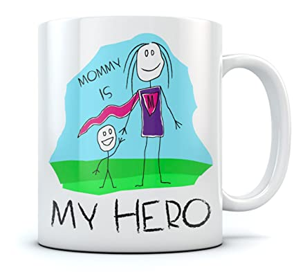 Mommy Is My Hero Kids Drawing Super Mom Coffee Mug From Son