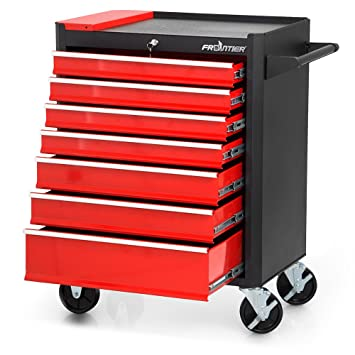Lockable Black | No. 402797 Different Colours TecTake 800561 Tool Cabinet on Wheels with 5 Drawers