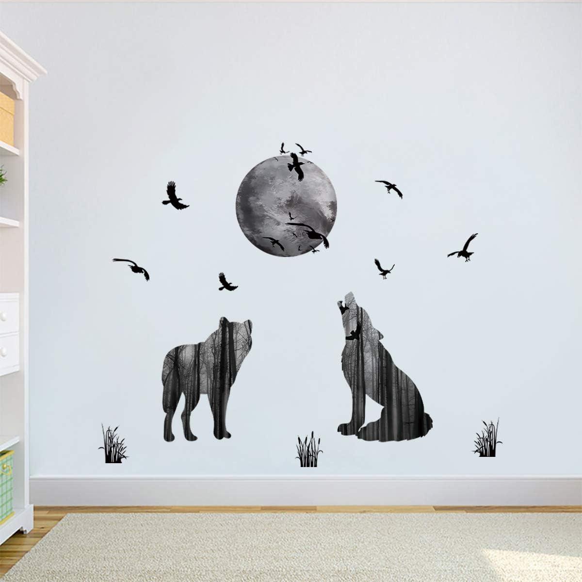 decalmile Animal Lobo y Luna Pegatinas de Pared Pájaros Vinilo Decorativos Dormitorio Salón Habitación Infantiles Niños