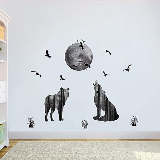 decalmile Animal Lobo y Luna Pegatinas de Pared Pájaros Vinilo Decorativos Dormitorio Salón Habitación Infantiles Niños: Amazon.es: Hogar