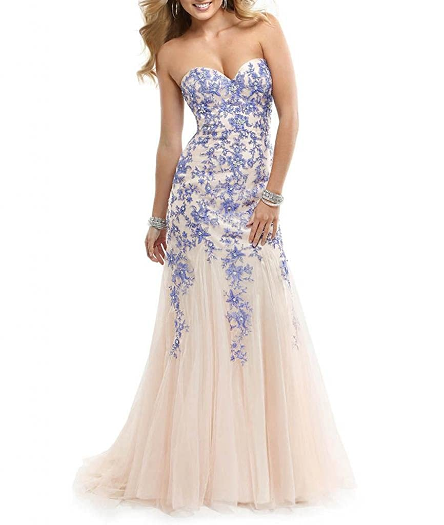 Amazon.com: ASBridal Strapless Tulle Prom Dresses Long Appliques Mermaid Evening Dress: Clothing
