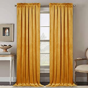 RYB HOME Velvet Curtain 84 inch - Heavy Duty Curtains Bedroom Room Darkening Drapes Window Covering Set for Home Theatre Dining Living Room, 52 inch Width x 84 inch Length, Warm Gold, 1 Pair