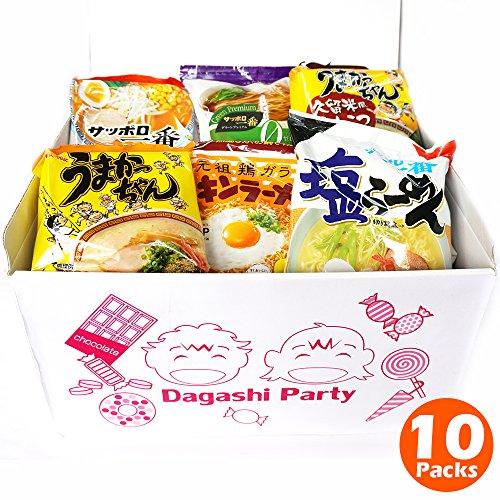 Japanese Instant Noodles Ramen Variety BOX tonkotsu(poke bone), soy sauce, miso, salt (10 Packs)