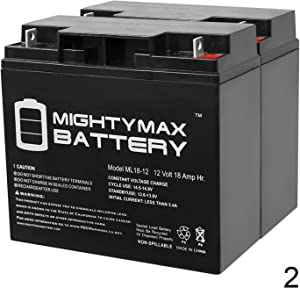 Mighty Max Battery ML18-12 - 12V 18AH UPS Battery Replaces Werker WKA12-18NB - 2 Pack Brand Product