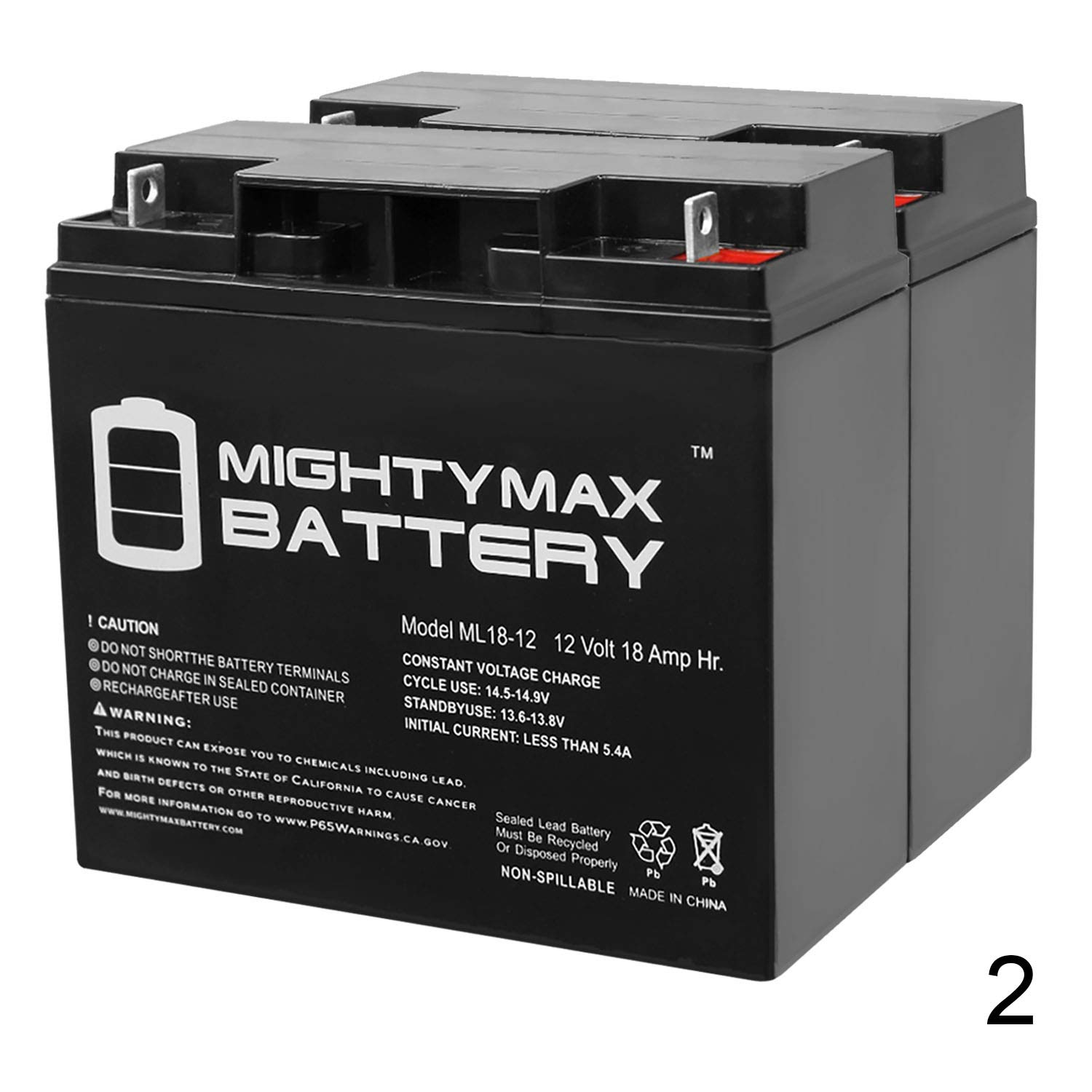 Mighty Max Battery ML18-12 - 12V 18AH CB19-12 SLA AGM Rechargeable Deep Cycle Replacement Battery - 2 Pack Brand Product