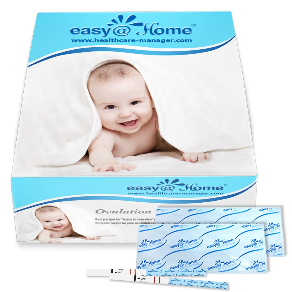 Easy@Home Ovulation Test Strips (50-Pack), FSA Eligible Ovulation Predictor Kit, Powered by Premom Ovulation Calculator iOS and Android APP, 50 LH Tests by Easy@Home
