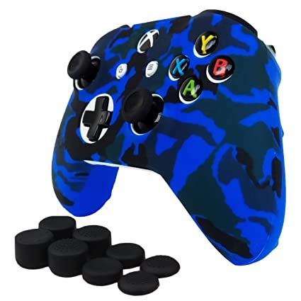Pandaren Studded Anti-Slip Silicone Cover Skin Set for Xbox One S/Xbox One  X Controller (Blue Skin X 1 + Thumb Grip X 2)