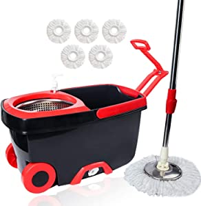 Spin Mop Bucket with Wringer, Mop and Bucket Set, 360 Spin Dry Basket with 5 Replacements Microfiber Mop Heads and Stainless Steel Adjustable Handle for Home Floor Cleaning