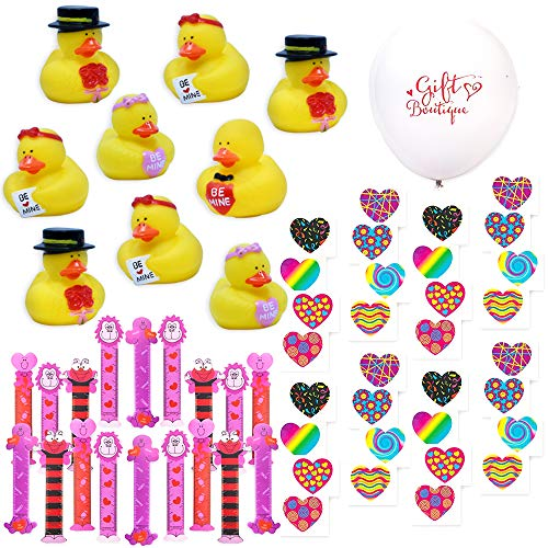 132 Valentine Party Favors Valentines Day Bulk Kit for Kids Includes 48 Valentine Bookmarks, 72 Valentine Temporary Tattoos, 12 Valentines Ducks Vinyl Rubber Duckies