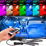4pcs Car Interior Decoration, NERLMIAY Atmosphere Light-LED Car Interior Lighting Kit with 7 Color, Waterproof, Interior Atmosphere Neon Lights Strip for Car