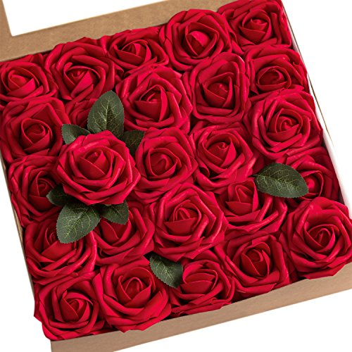 Ling's moment Artificial Flowers 25pcs Real Looking Dark Red Fake Roses w/Stem for DIY Wedding Bouquets Centerpieces Bridal Shower Party Home -