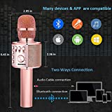 BONAOK Wireless Karaoke Microphone Rose Gold Plus, 3-in-1 Portable Built in Bluetooth Speaker Machine for Android/iPhone/iPad/Sony/PC or All Smartphone