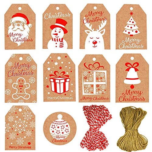 100 Pack Christmas Tags,Christmas Gift Tags 10 Designs Brown Kraft Paper Merry Christmas Tags with 20 Meters Twine String Tie for DIY Xmas Holiday Present Wrap Gift Tags