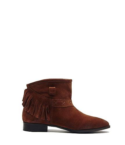 42b98782bd089 Poi Lei Damen-Schuhe Fransenstiefelette Amy Braun Stiefeletten Flach ...