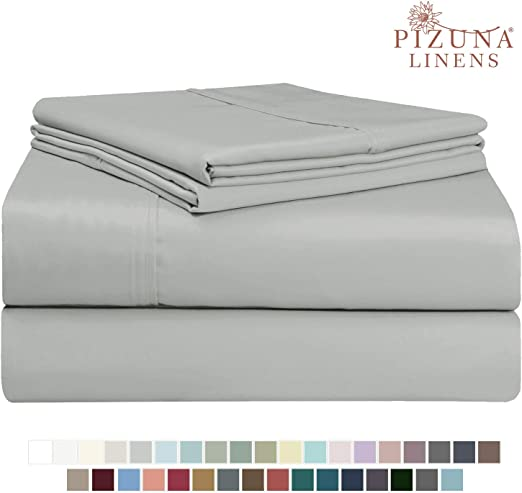 Luxury Bedding PLAIN PRINTED LINEN 4PCs Sheet set 400 Thread count 100/% Cotton Sheet Light Grey Solid Cal King Sheets Long Staple Cotton Fits Mattress Upto 15 Deep Pocket Soft Sateen Cotton Bedsheet and Pillowcase