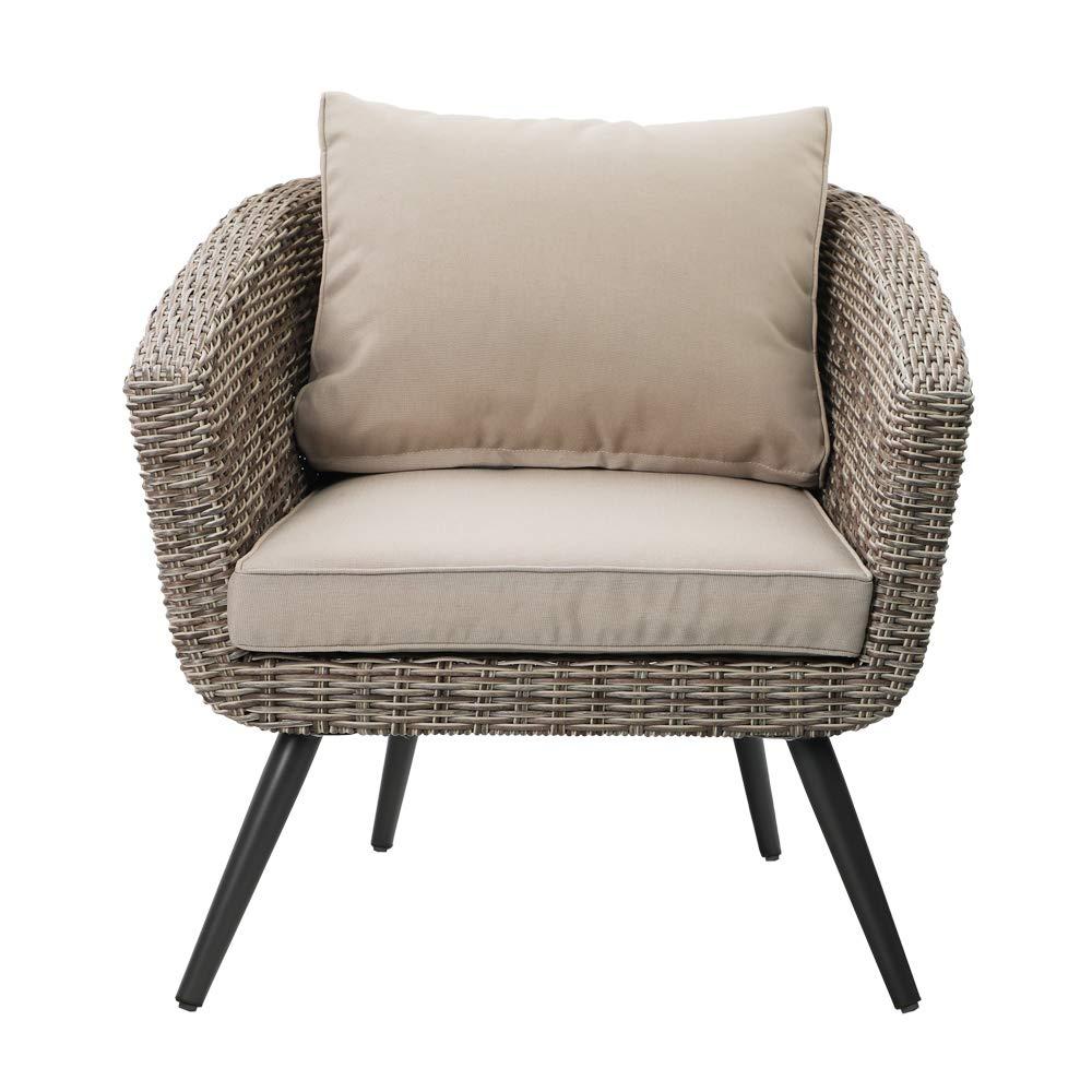 PHI VILLA Outdoor Patio Brushed Rattan and Gradual Changing Color Wicker Sofa,Arm Seat Barrel Chair for Garden,Yard,Indoor,Living Room