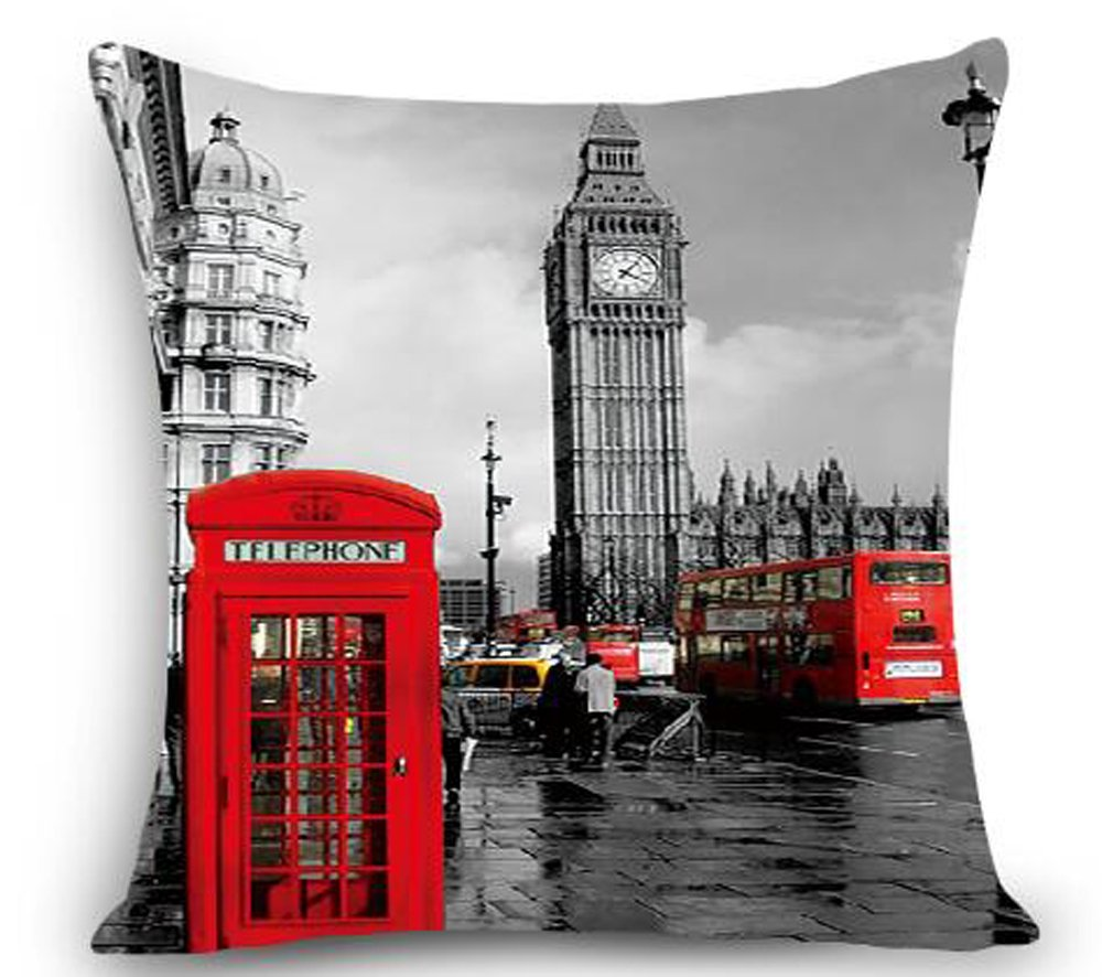 Retro United Kingdom London Red Phone Booth Knight Taxi Cotton Linen Square Throw Waist Pillow Case Decorative Cushion Cover Pillowcase Sofa 18x 18 (1) LIPOR