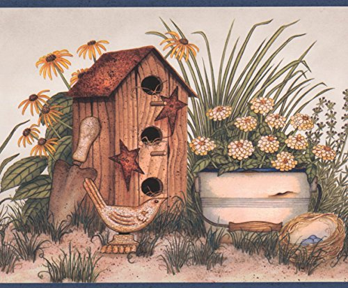 Birdhouses Pots Flowers Blue Birds Beige Vintage Wallpaper Border Retro Design, Roll 15' x - Border House