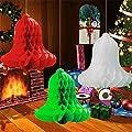 SUNBEAUTY 10pcs Decorative Jingle Bell Paper Honeycomb Bells Tissue Paper Bells Christmas Bell Decoration Wedding Home Party Decoration