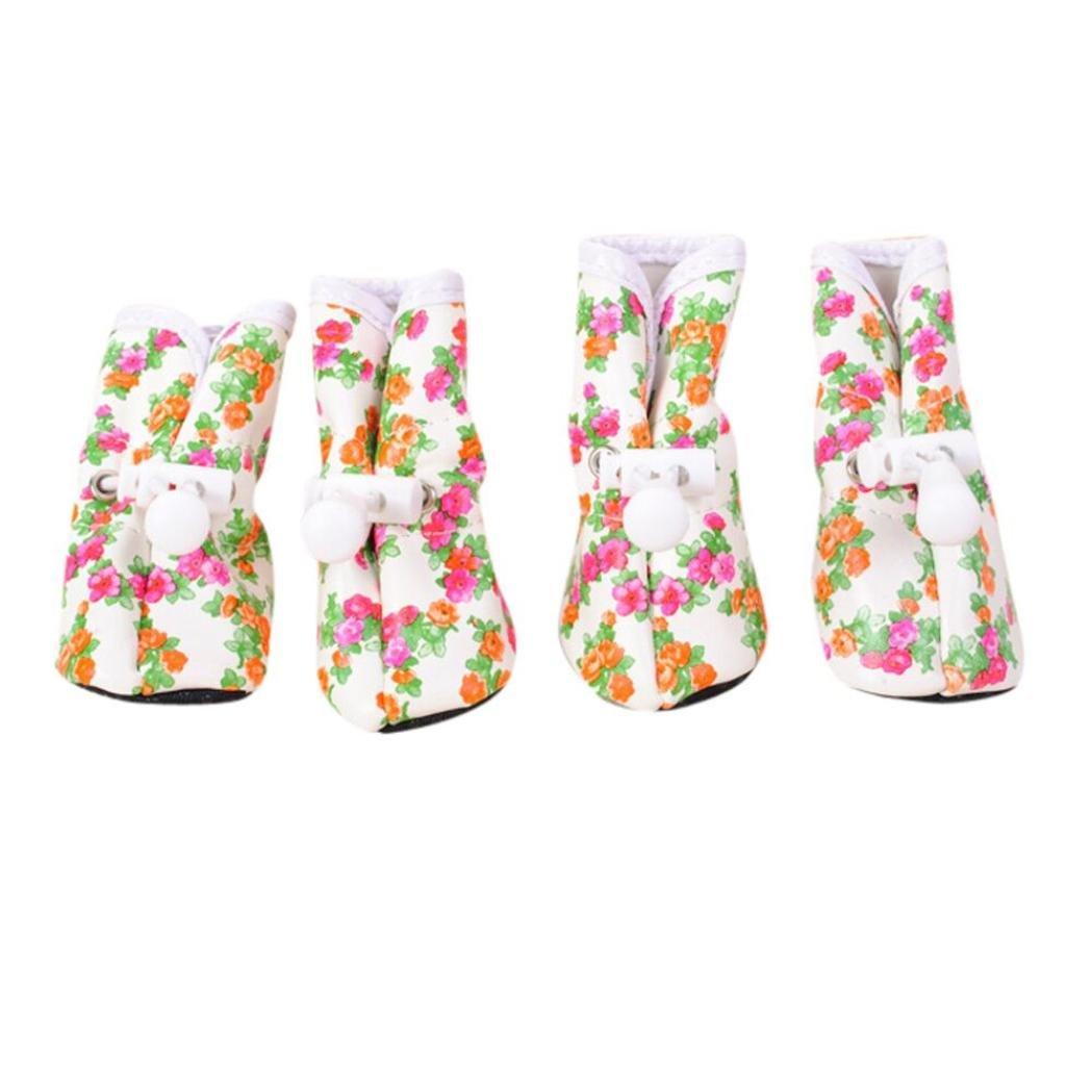 Chien Chaussures, Hunpta pour animal domestique Chien en caoutchouc antidérapant Bottes de pluie Neige étanche Petit Chat Chien Chaussures