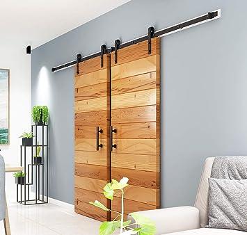 10ft Single Sliding Barn Door Hardware Straight J Roller Track Closet Kit USA BS