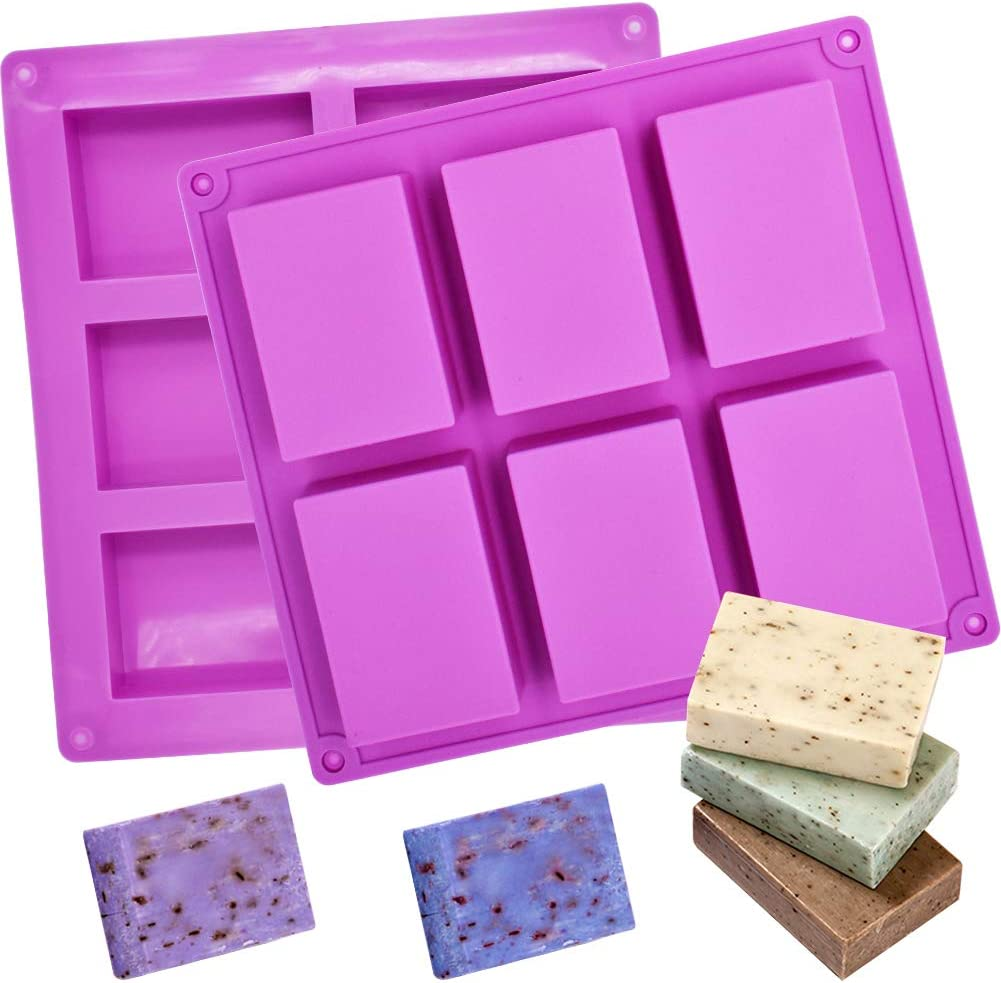 Silicone Mold soap Mold 2 Pieces 6 Cavities Rectangular DIY Silicone Mold for Baking Cakes Chocolate Biscuit ice Cubes Homemade Handmade
