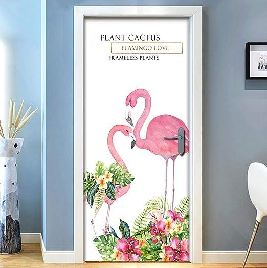 XXXCH Papel Tapiz De Puerta 3D Hermoso Flamenco 95X215Cm 3D ...