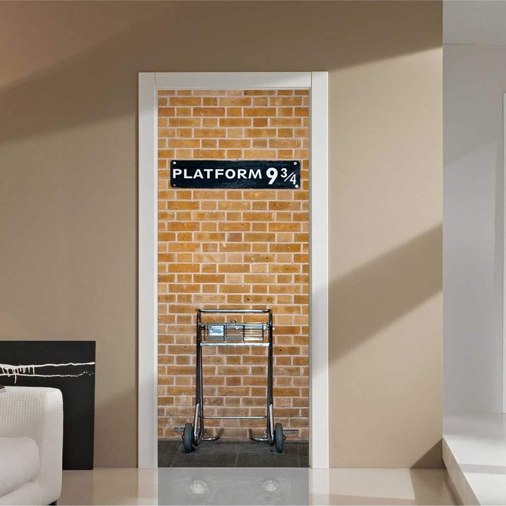 Harry Potter 9 Plateforme trois quarts Porte Autocollant Murales de Porte Amovibles 200cm Décoration d'intérieur Autocollant PVC pour Restaurant Bar (Color : 1, Size : One size) None