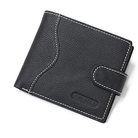 Cartera monedero con cremallera de cuero con monedero para hombre (Color : Black)