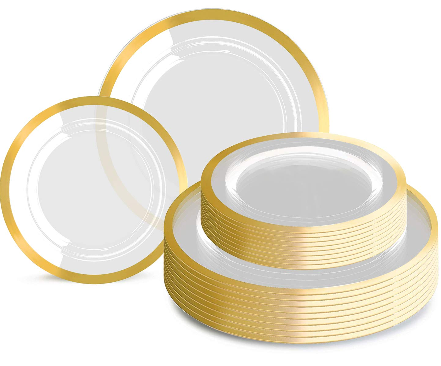 120pcs Plastic Gold plates Clear Plastic Plates with Unique Design Disposable Plates Heavy Duty Includes: 60 Durable Dinner Plates 10.25'' and 60 Dessert Plates 7.5'', Supernal by supernal