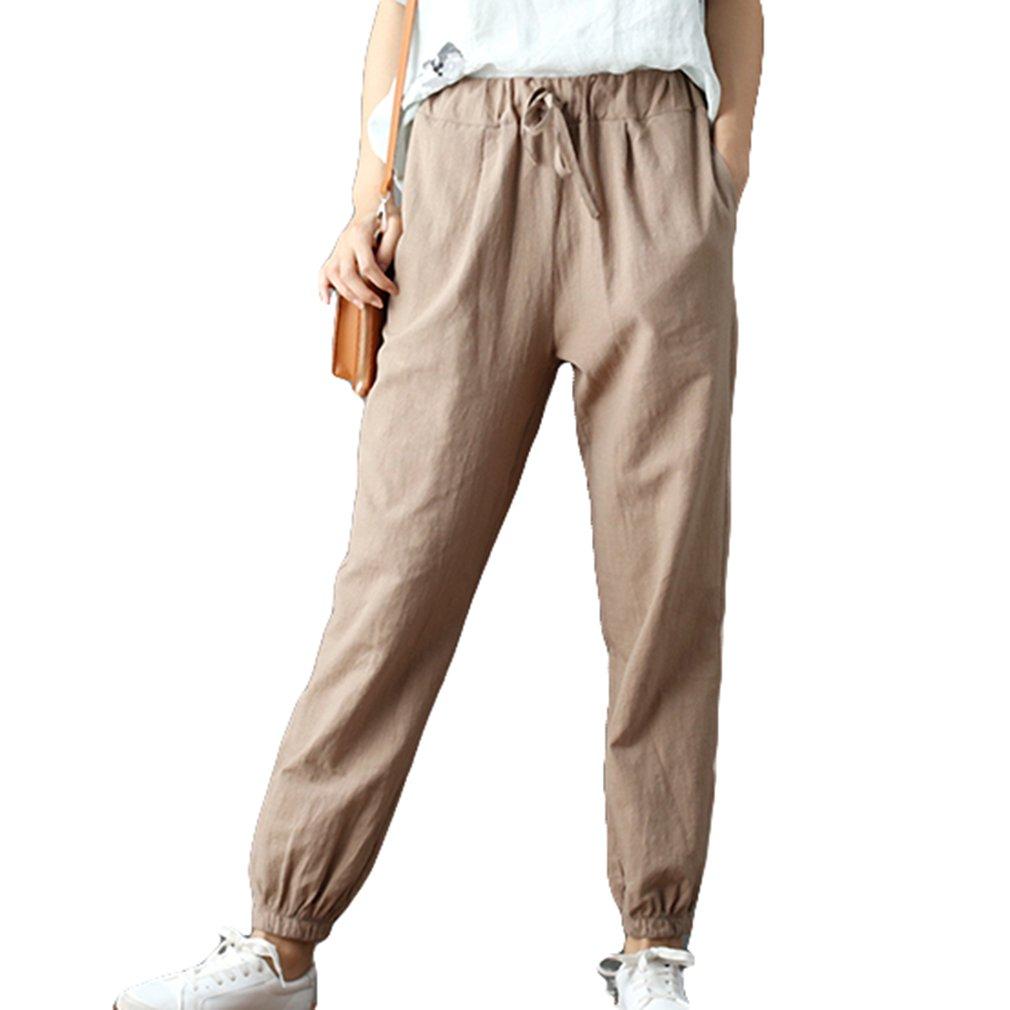 Hibote Femme Lin Pantalons d été Pantalons de Plage Doux Pantalon en Lin  Confortable lâche Solide Couleur Pantalon décontracté avec Cordon 7 8  Longueur ... 875fd935c2b9